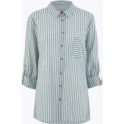 M&S Collection CURVE Pure Cotton Striped Shirt