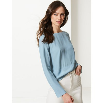 M&S Collection Round Neck Long Sleeve Shell Top