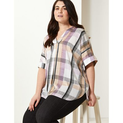 M&S Collection CURVE Checked Longline Tunic