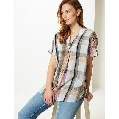 M&S Collection Checked Longline Tunic