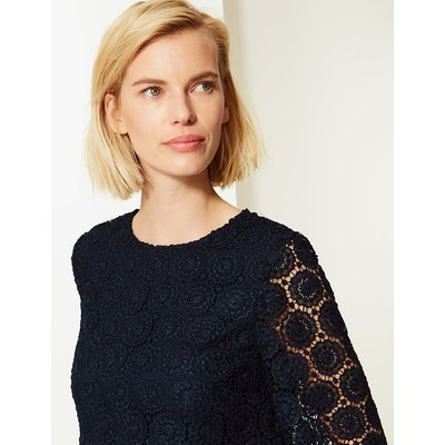 M&S Collection Lace Round Neck Long Sleeve Shell Top
