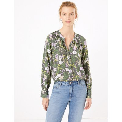 M&S Collection Floral Longline Blouse