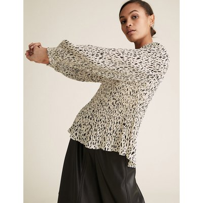 M&S Collection Plisse Printed Long Sleeve Blouse