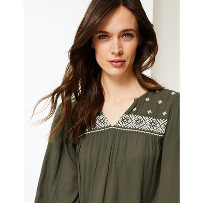 M&S Collection Embroidered Blouson Sleeve Tunic