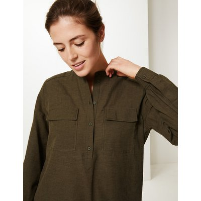 M&S Collection Utility Long Sleeve Top with Linen