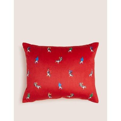 Velvet Skating Penguin Small Cushion red