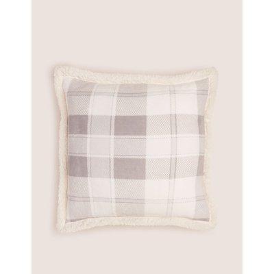 Checked Fleece Medium Cushion grey