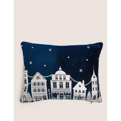 Velvet Foil Town Scene Small Cushion navy