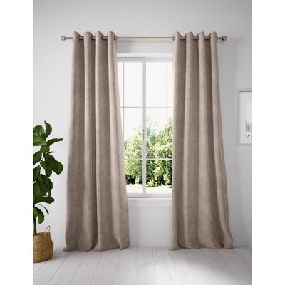 Chenille Eyelet Curtains brown