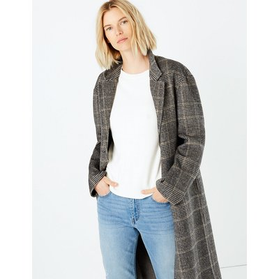 M&S Collection Checked Double Faced Overcoat