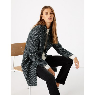 M&S Collection Herringbone Cocoon Coat with Wool