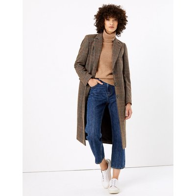 M&S Collection Checked Tailored Overcoat with Wool