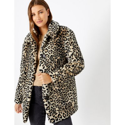 M&S Collection Faux Fur Animal Print Coat