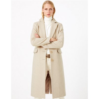 M&S Collection Wool Blend Tailored Herringbone Coat