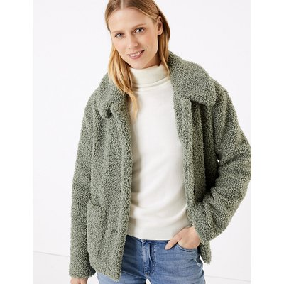 M&S Collection Textured Borg Faux Fur Jacket