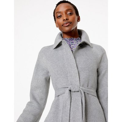 M&S Collection Wool Blend Belted Car Coat