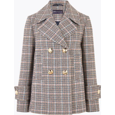 M&S Collection PETITE Checked Pea Coat with Wool