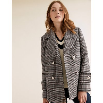 M&S Collection Checked Pea Coat with Wool