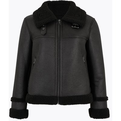 M&S Collection PETITE Faux Shearling Aviator Jacket
