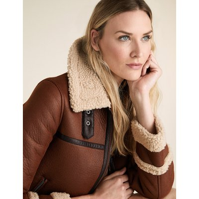 M&S Collection Faux Shearling Borg Lined Aviator Jacket