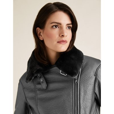 M&S Collection Faux Shearling Aviator Jacket