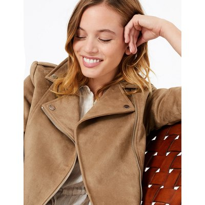M&S Collection PETITE Faux Suede Biker Jacket