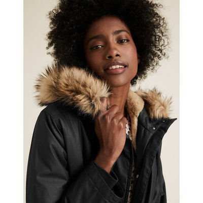 M&S Collection Waxed Faux Fur Lined Parka Coat