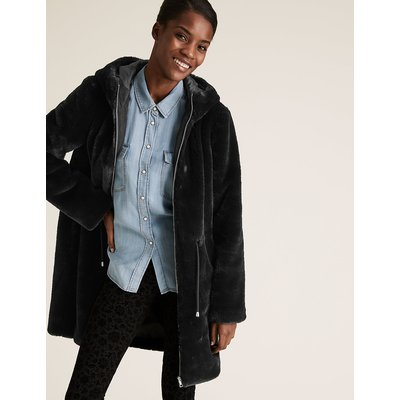 M&S Collection Faux Fur Waisted Coat