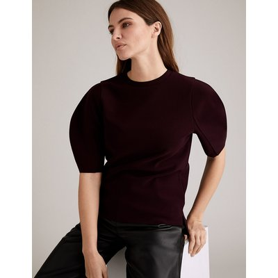 Autograph Jersey Crepe Puff Sleeve Top