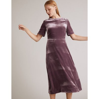 Autograph Velvet Midi Waisted Dress with Silk