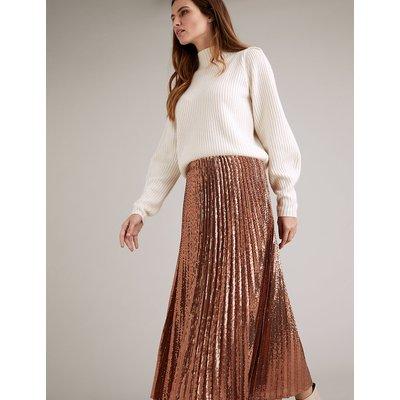Autograph Sequin Pleated Midi Skirt