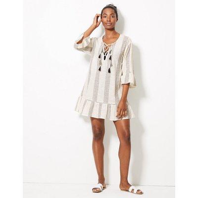 M&S Collection Pure Cotton Striped Beach Kaftan