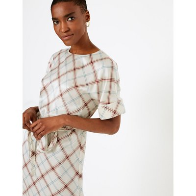 Autograph Pure Silk Checked Tunic Dress