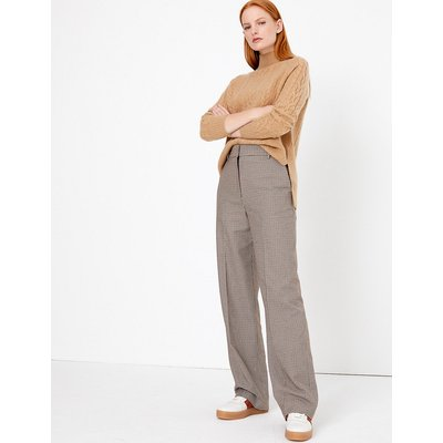 Autograph Cotton Blend Checked Straight Leg Trousers