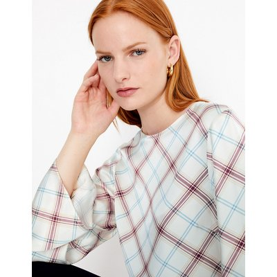Autograph Satin Checked Long Sleeve Shell Top
