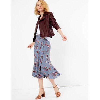 Per Una Floral Print Frill Midi Skirt