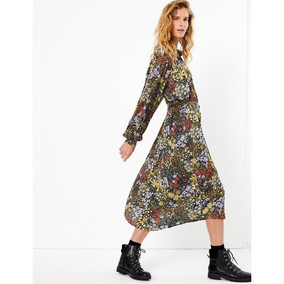 Per Una Floral Print Shirt Midi Dress