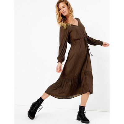 Per Una Satin Jacquard Shirred Detail Dress