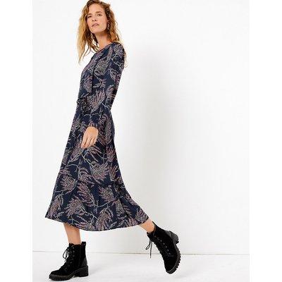 Per Una Printed Ruffle Detail Midi Dress