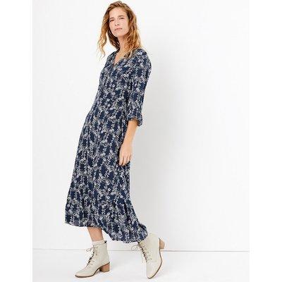 Per Una Floral Print Frill Sleeve Midi Dress