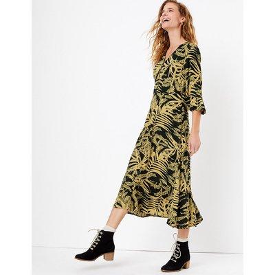 Per Una Leaf Print Frill Sleeve Midi Dress