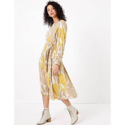 Per Una Leaf Print Waisted Midi Dress