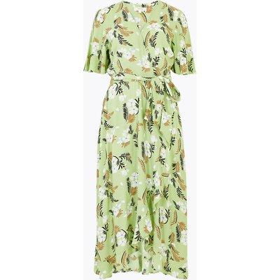 Per Una Fern Print V-Neck Midi Wrap Dress