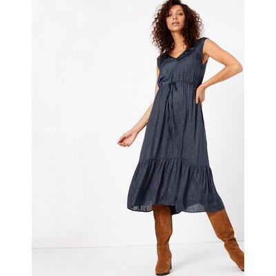 Per Una Satin Jacquard Waisted Midi Dress