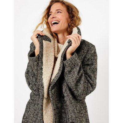 Per Una Herringbone Boucle Double Breasted Coat