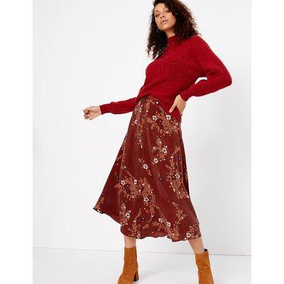 Per Una Floral Print Slip Midi Skirt