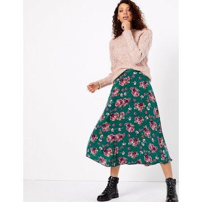 Per Una Floral Cupro Midi Skirt