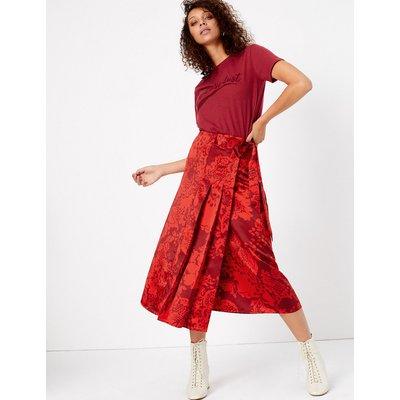 Per Una Satin Floral Pleated Midi Wrap Skirt