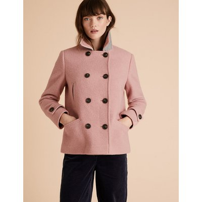 Per Una Wool Double Breasted Short Pea Coat