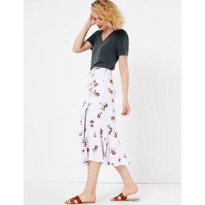 Per Una Printed Ruffle Midi Skirt